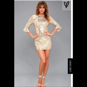 Gold Lulus mini dress